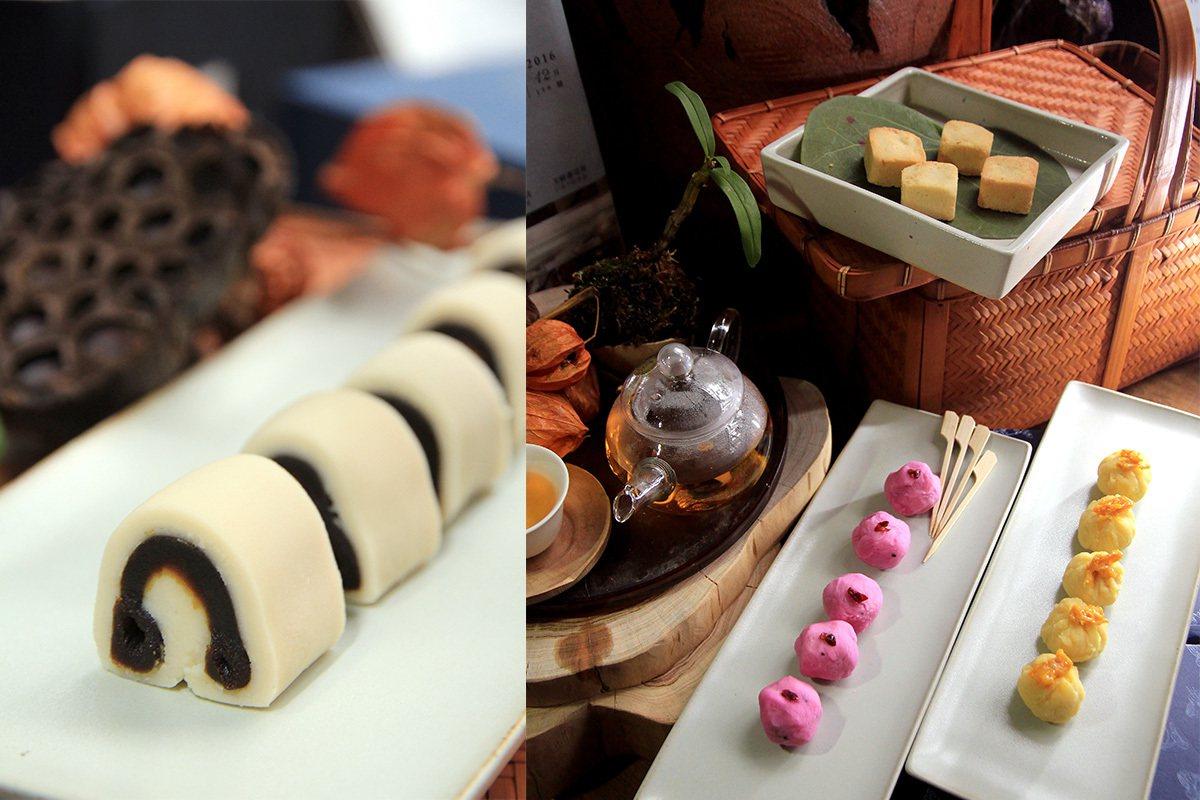左-芸豆棗泥糕與現泡工夫茶是絕配;右-以陽明山小橘子和綠豆沙捏製的金桔綠豆糕、火...
