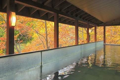「定山溪豪景飯店」提供的露天浴池,讓旅客能一邊欣賞近在眼前的紅葉,一邊舒服享受熱...