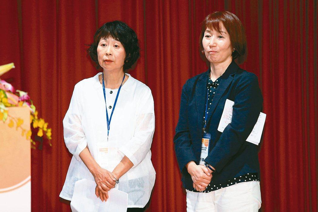一粒麥子基金會昨天成果發表會,日本富山縣宮の森咖啡負責人加藤愛理子(左)與日本一...