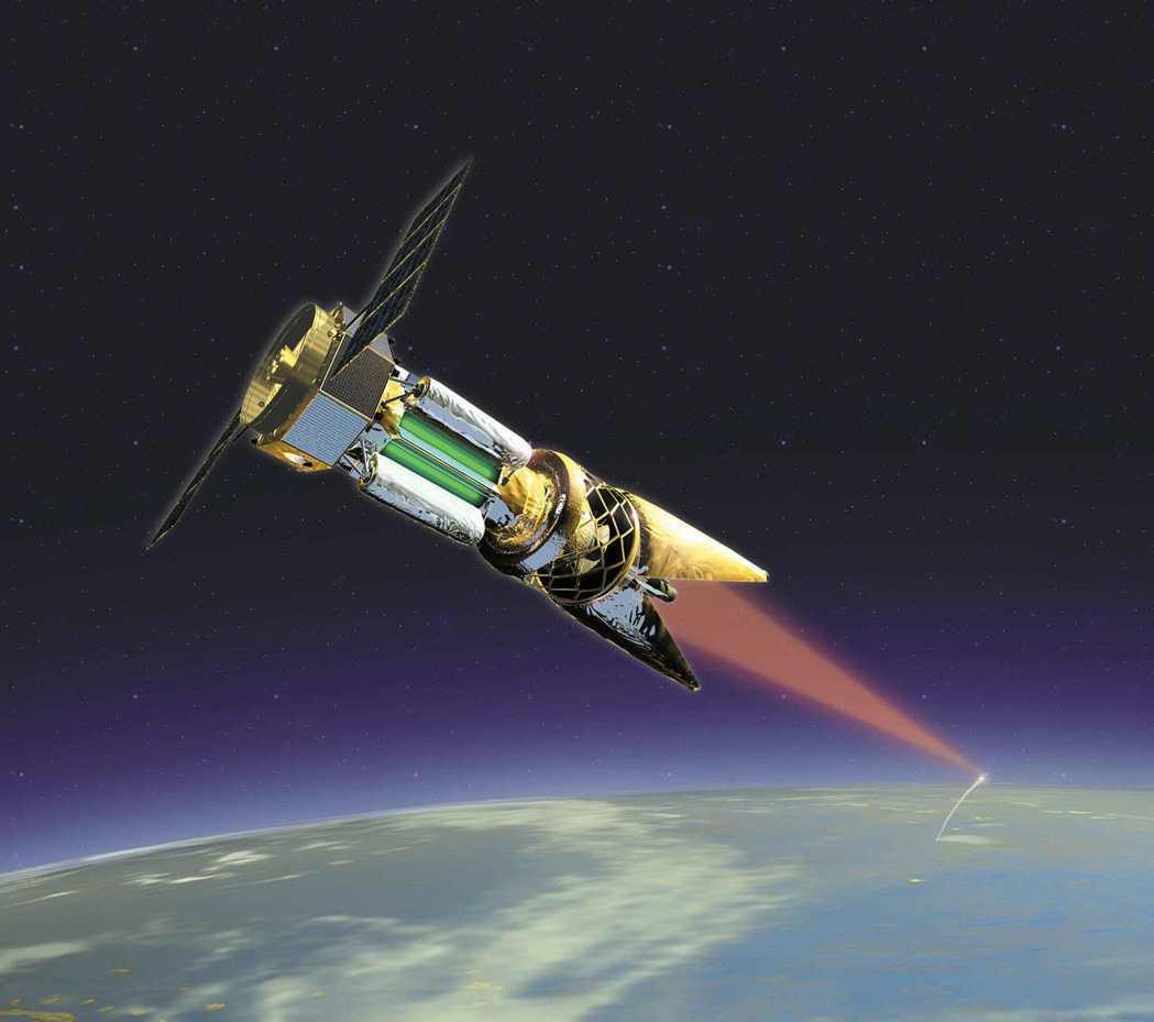 美國空軍研發中的太空雷射武器示意圖,美軍計畫將這種雷射部署在太空,擊落來襲飛彈。...