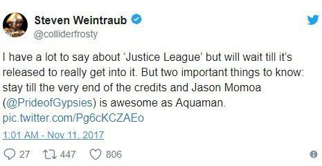 「正義聯盟」在推特上傳出好評。圖/摘自推特