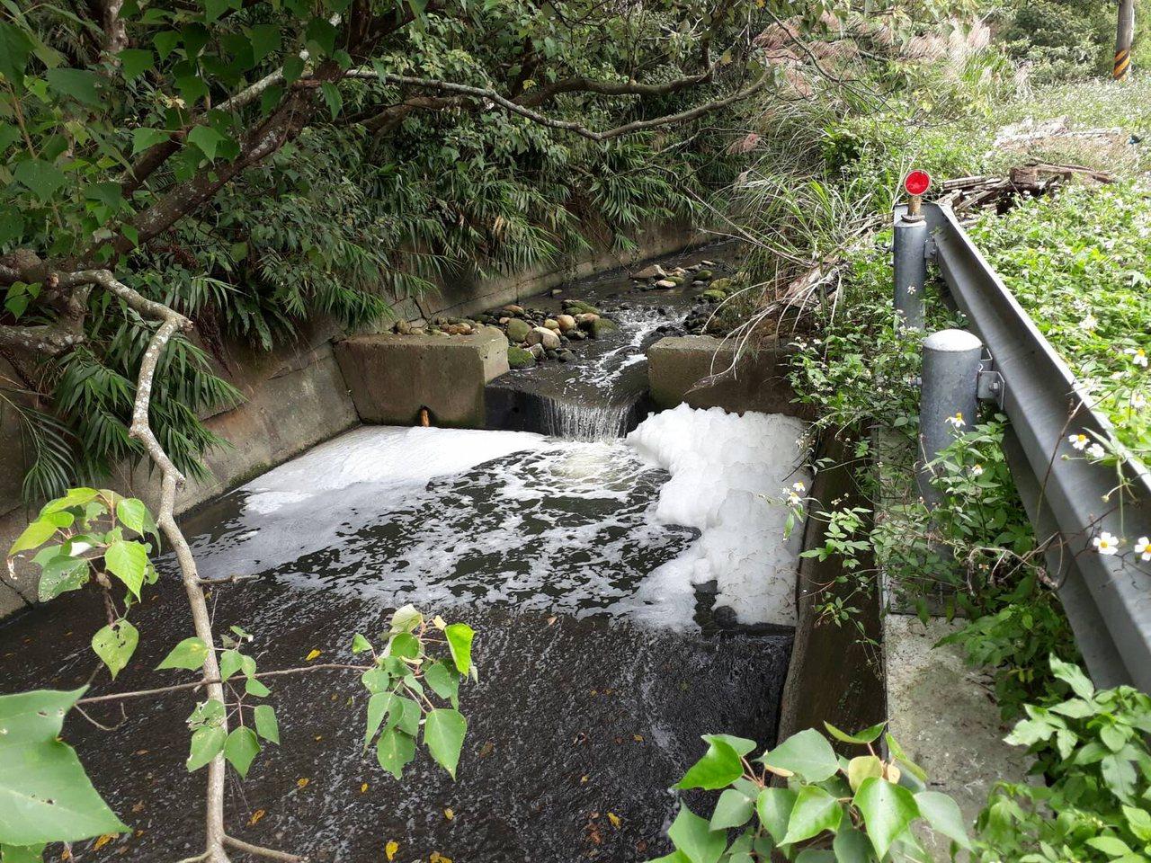 野溪出現許多泡沫,環保局已取樣分析並稽查來源。圖/市議員蔡淑君提供