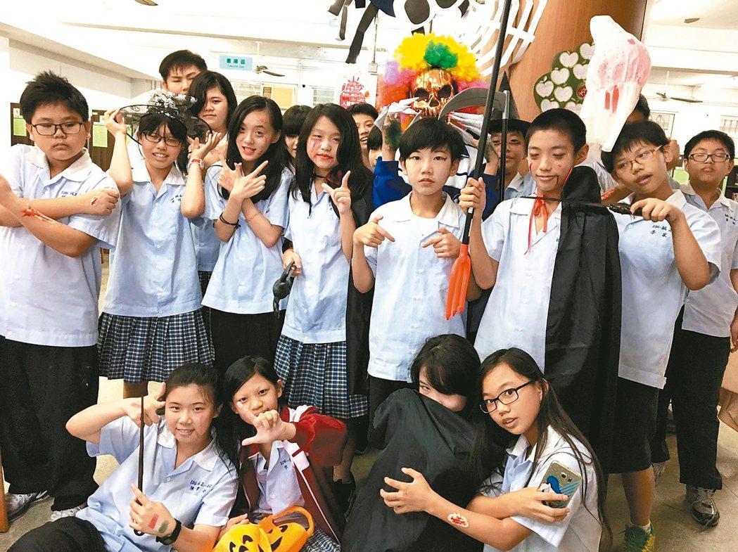 誠正國中結合節慶與閱讀舉辦「萬聖節周」,讓學生在玩樂中學習。 圖/誠正國中提供