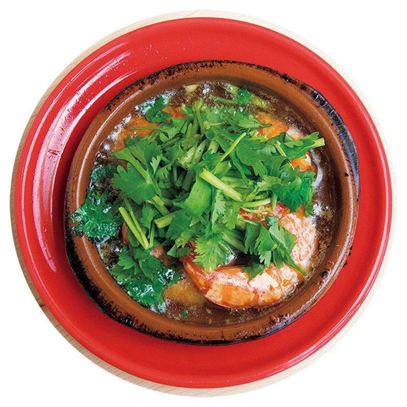 海老とパクチーのアヒージョ(香菜蝦子)¥700/滿滿香菜和鮮蝦一起烹煮,是西班牙...