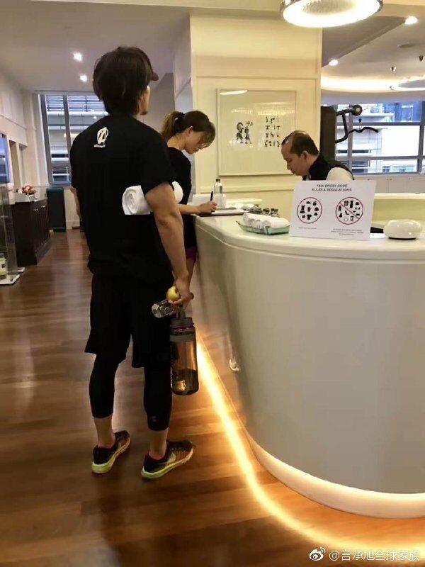 言承旭、林志玲被直擊現身大馬酒店健身房。圖/摘自微博