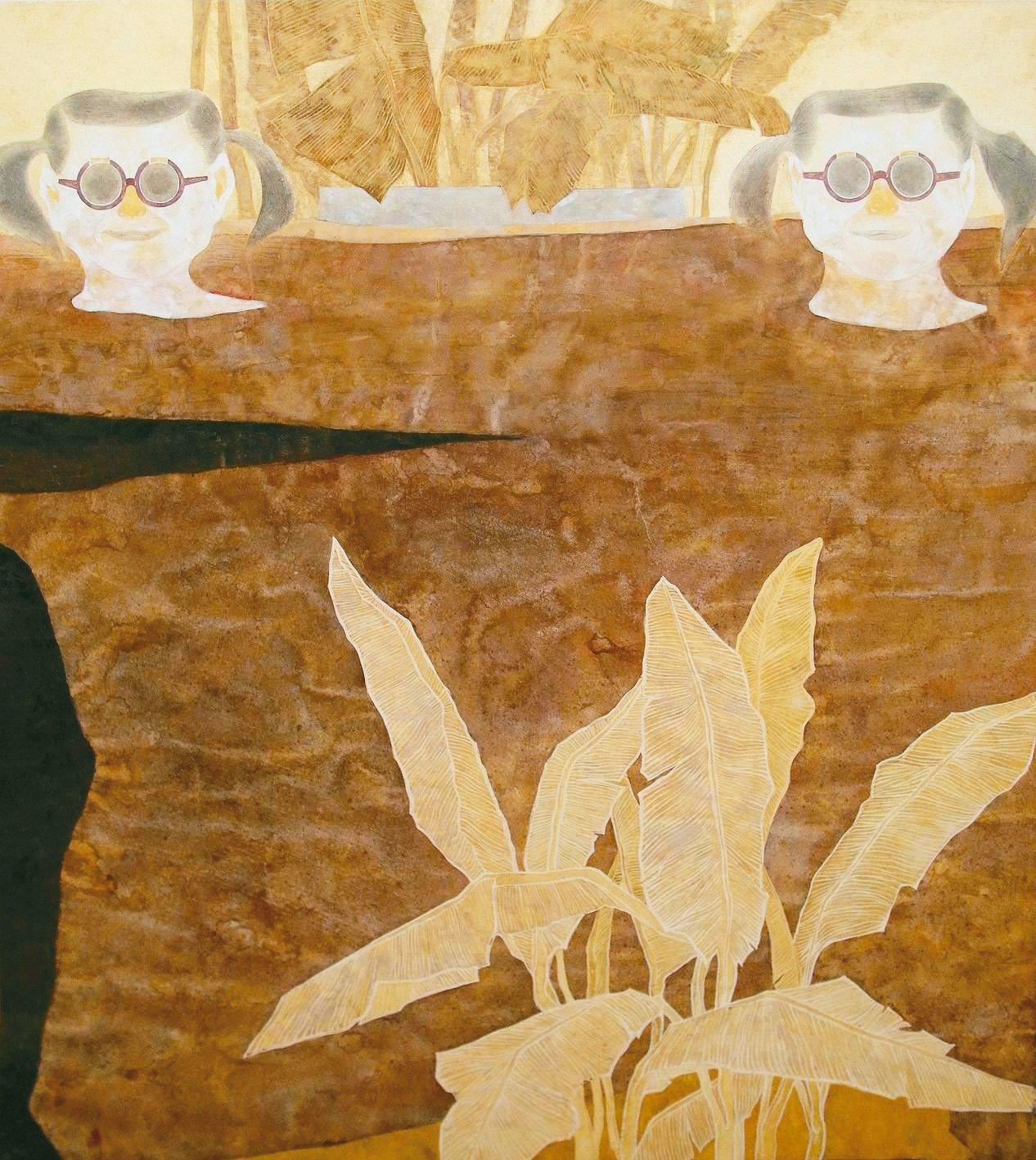黃路玉苓水墨 膠彩作品〈當我們同在一起〉