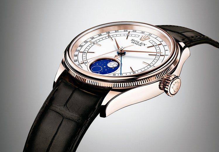型號50535/直徑39mm/18ct永恒玫瑰金錶殼/3195型機芯/藍水晶鏡面...