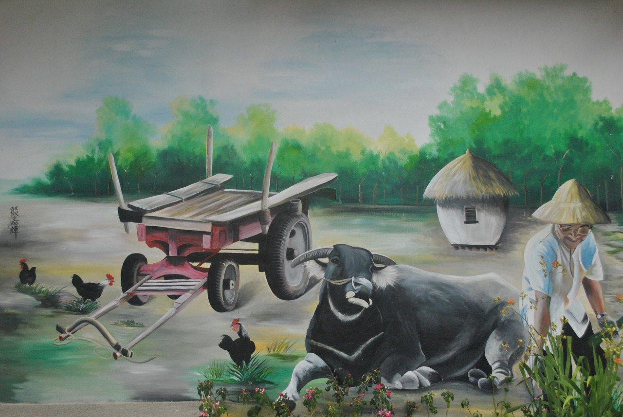 展現出早期農村一景的彩繪。 圖/涂盛發提供
