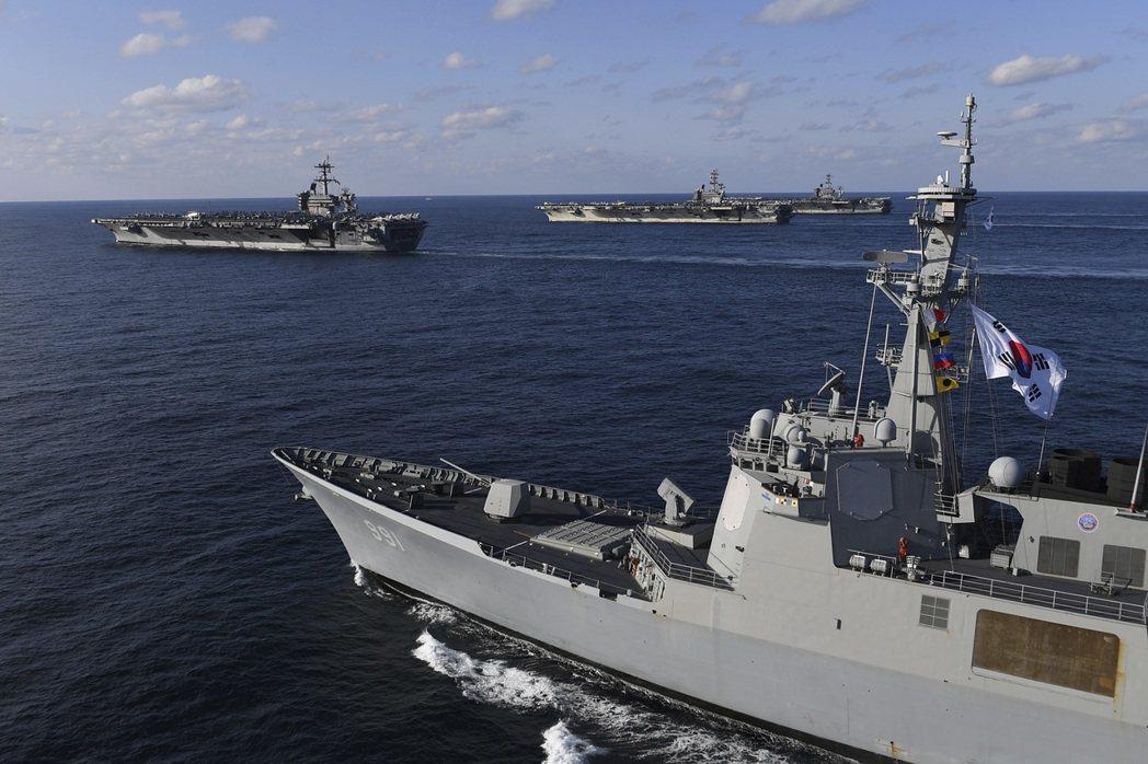 美日、美韓分別軍演的情況,再度明示韓國對印太戰略的排拒。 圖/美聯社