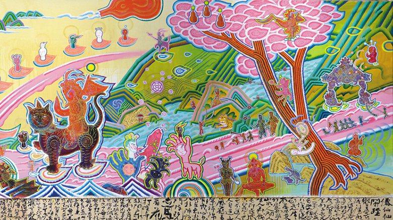藝術家李俊陽以過往觀察廟宇彩繪及傳統布袋戲的 經驗為基礎,創作出此幅《廟會交陪仙...