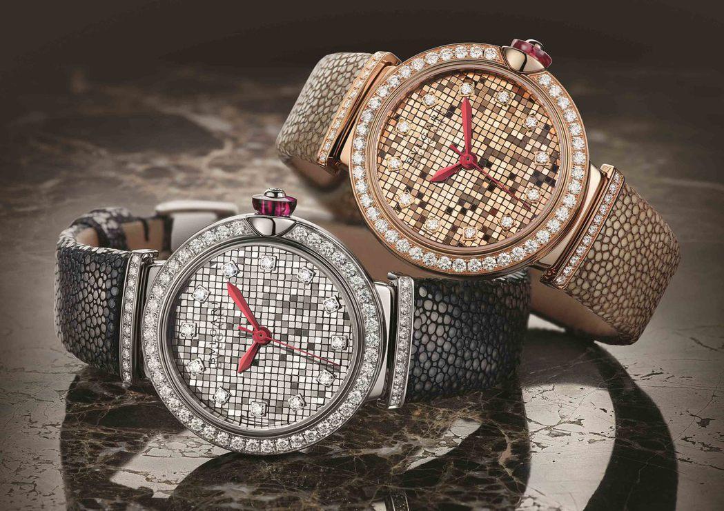 寶格麗Lvcea Mosaic腕表,表盤利用鏡面拋光後的金屬塊排列而成,所呈現的...