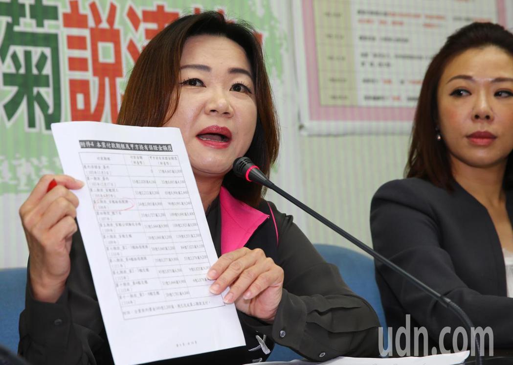 針對獵雷艦案,立委馬文君(左)、李彥秀(右)等上午在立法院舉行記者會公布接獲爆料...