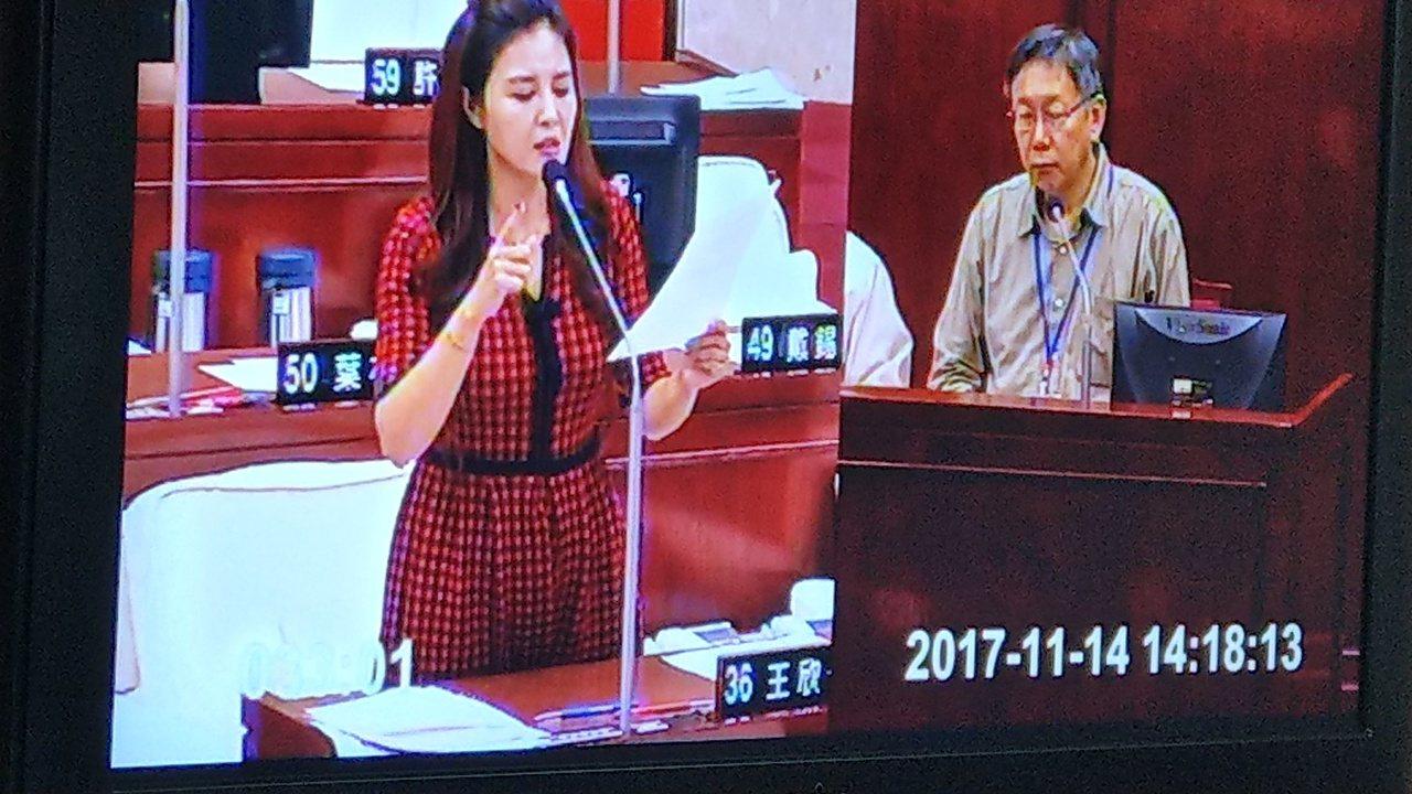 台北市長柯文哲下午在議會總質詢,被議員王欣儀問到明年市長選戰。記者楊正海/攝影