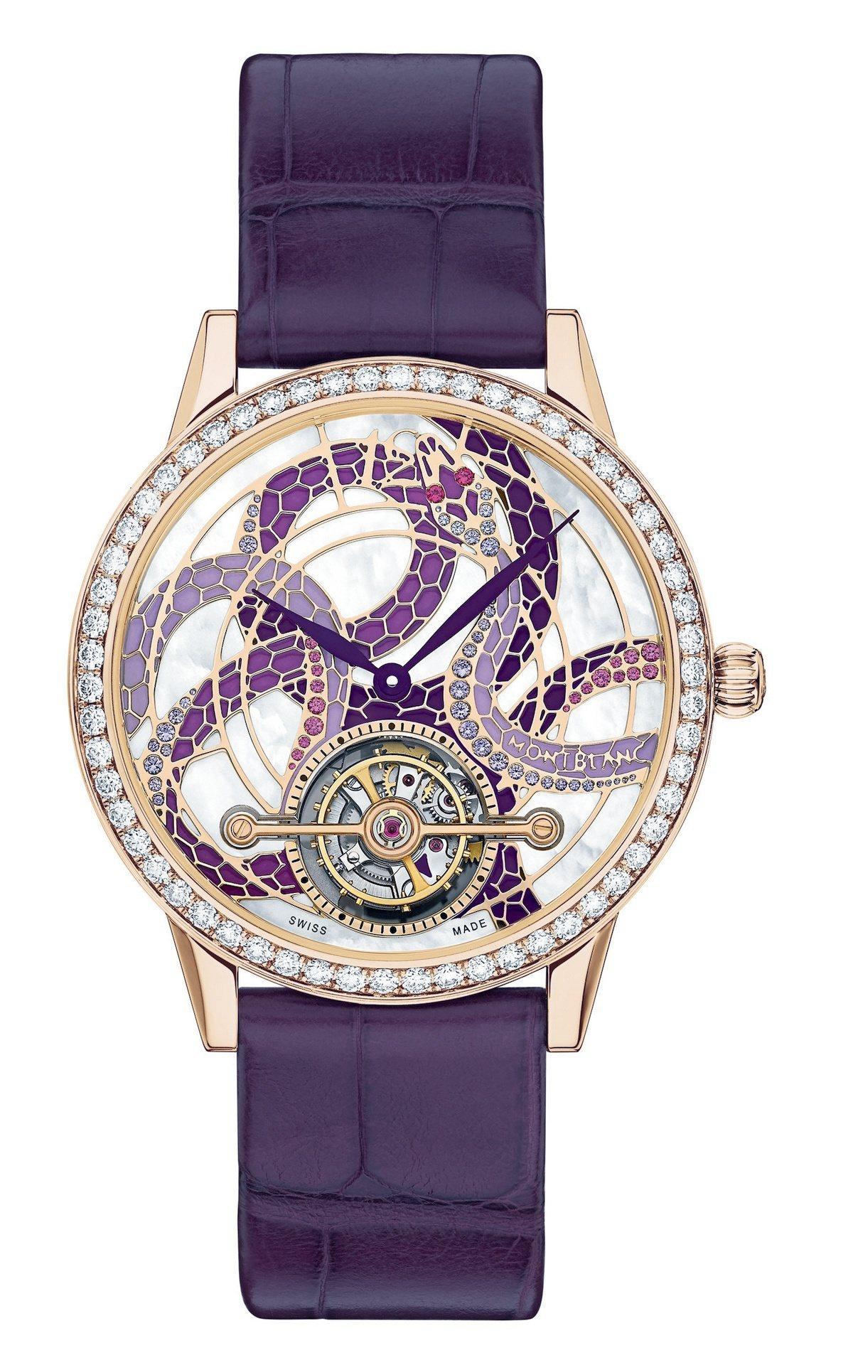 萬寶龍寶曦系列外置陀飛輪蛇圖騰珠寶限量款腕表,18K玫瑰金表殼,表盤蛇身鑲嵌51...