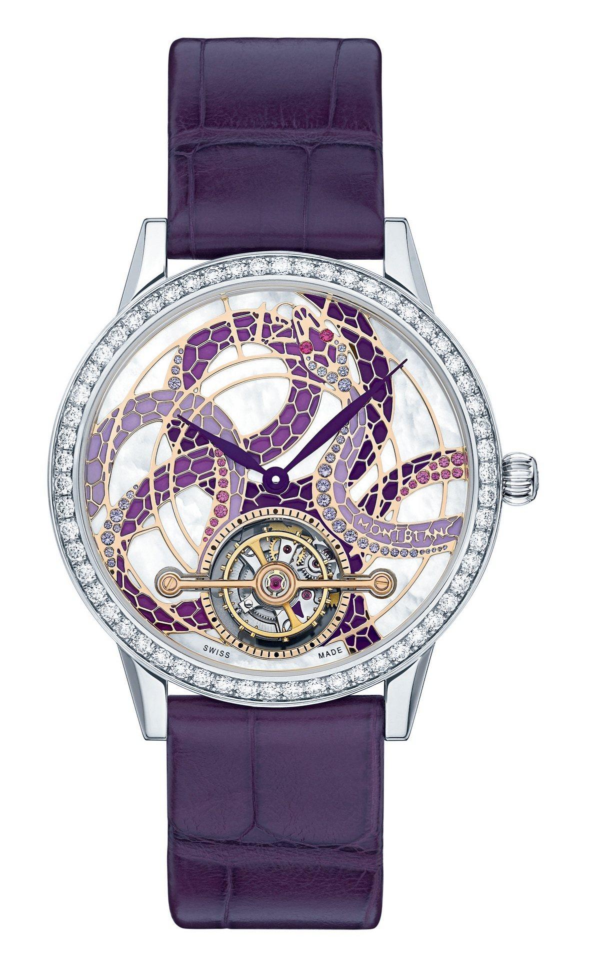萬寶龍寶曦系列外置陀飛輪蛇圖騰珠寶限量款腕表,18K白金表殼,表盤蛇身鑲嵌51顆...