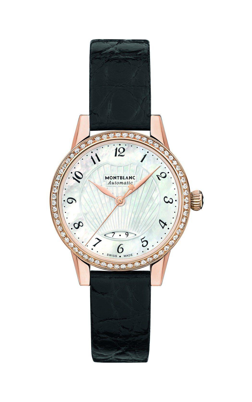 萬寶龍寶曦系列日期顯示腕表,18K玫瑰金表殼搭配鑲嵌62顆美鑽表圈,約39萬4,...