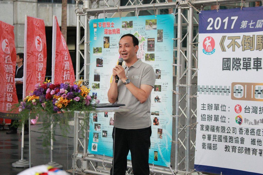 針對2020年總統選舉話題,新北市長朱立倫回應「謝謝柯市長」。記者林麒瑋/攝影