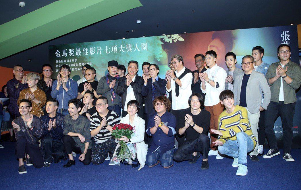 張艾嘉執導的電影「相愛相親」,舉辦男人之夜首映場,好友齊聚站台。記者陳瑞源/攝影