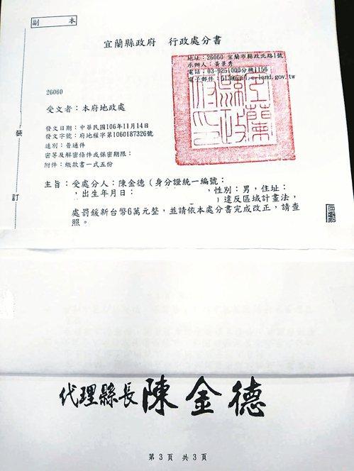 宜蘭代理縣長陳金德上任第九天,對自己曾擁有的農舍依法開罰六萬元,這張行政處分書昨...