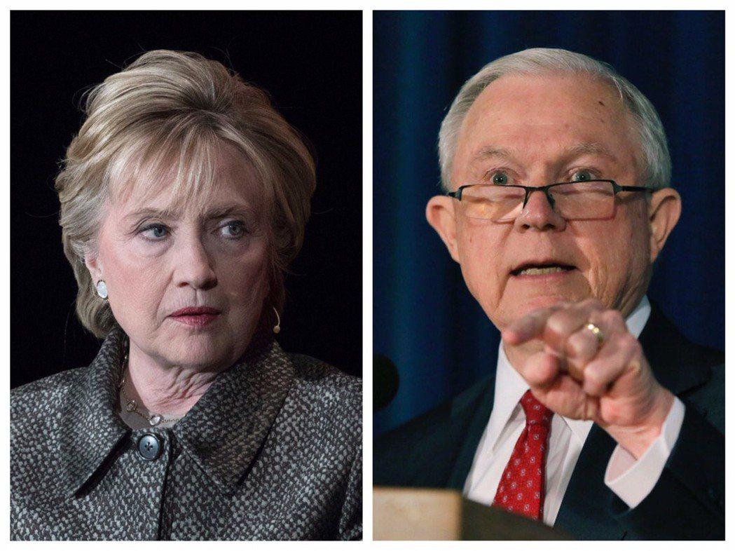 美國司法部長塞辛斯(右)考慮指派特別檢察官調查希拉蕊•柯林頓的基金會。美聯社