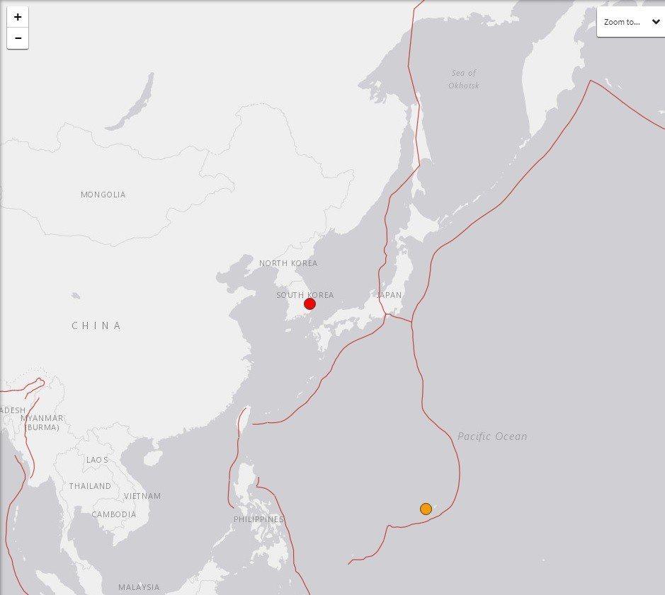 南韓慶尚北道浦項市以北六公里處偵測到規模5.5的強震。圖擷自美國地質觀測所