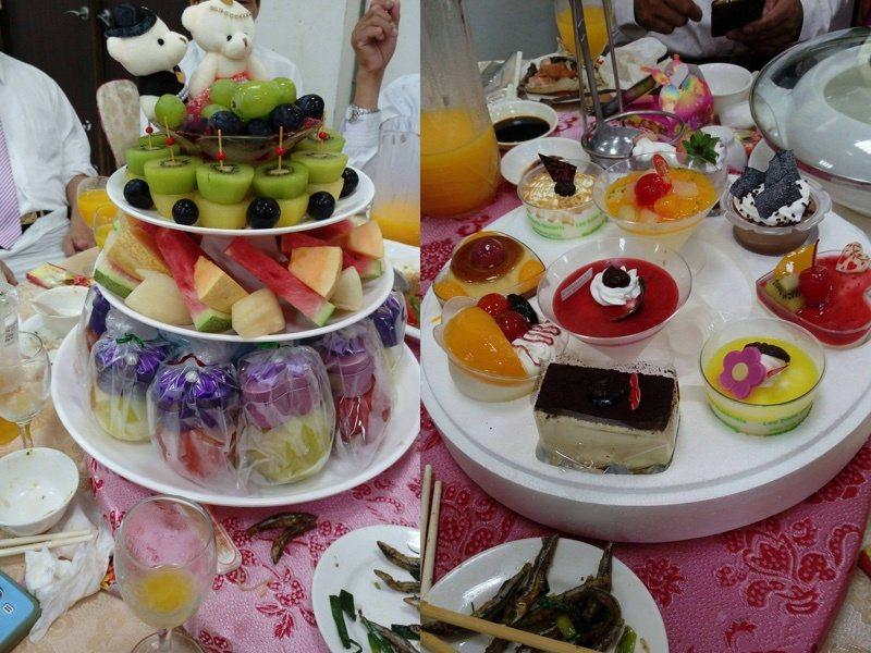 婚宴上的水果與甜點。圖片來源/Dcard