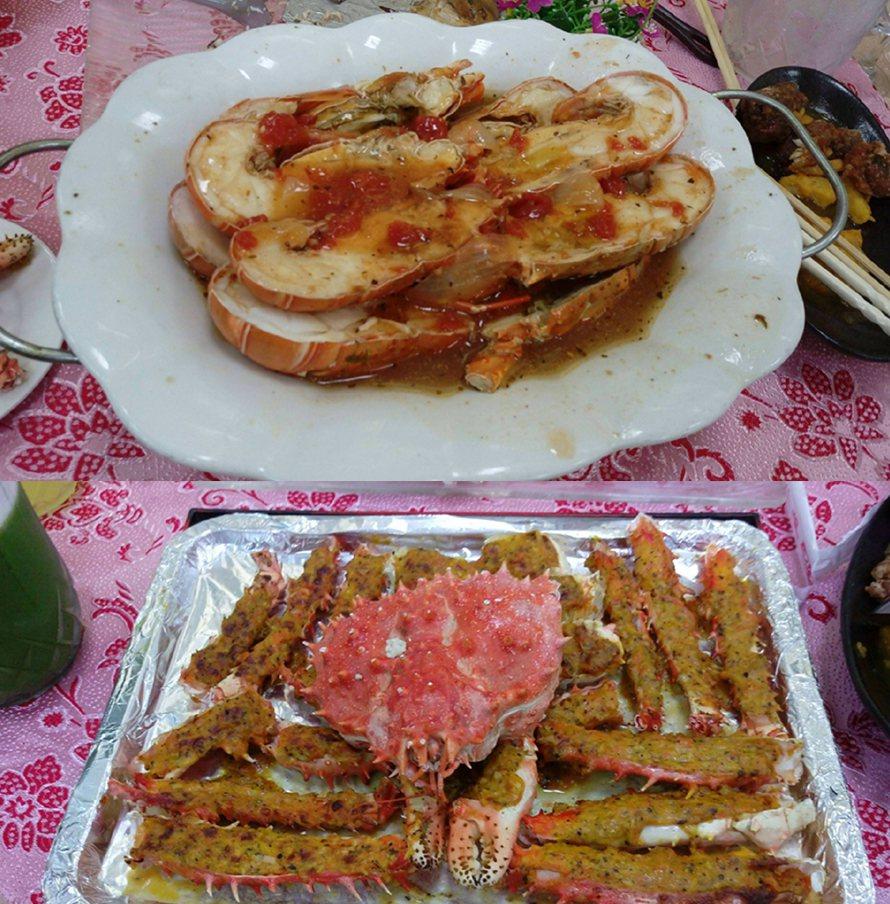 婚宴上的焗烤帝王蟹與清蒸小龍蝦。圖片來源/Dcard