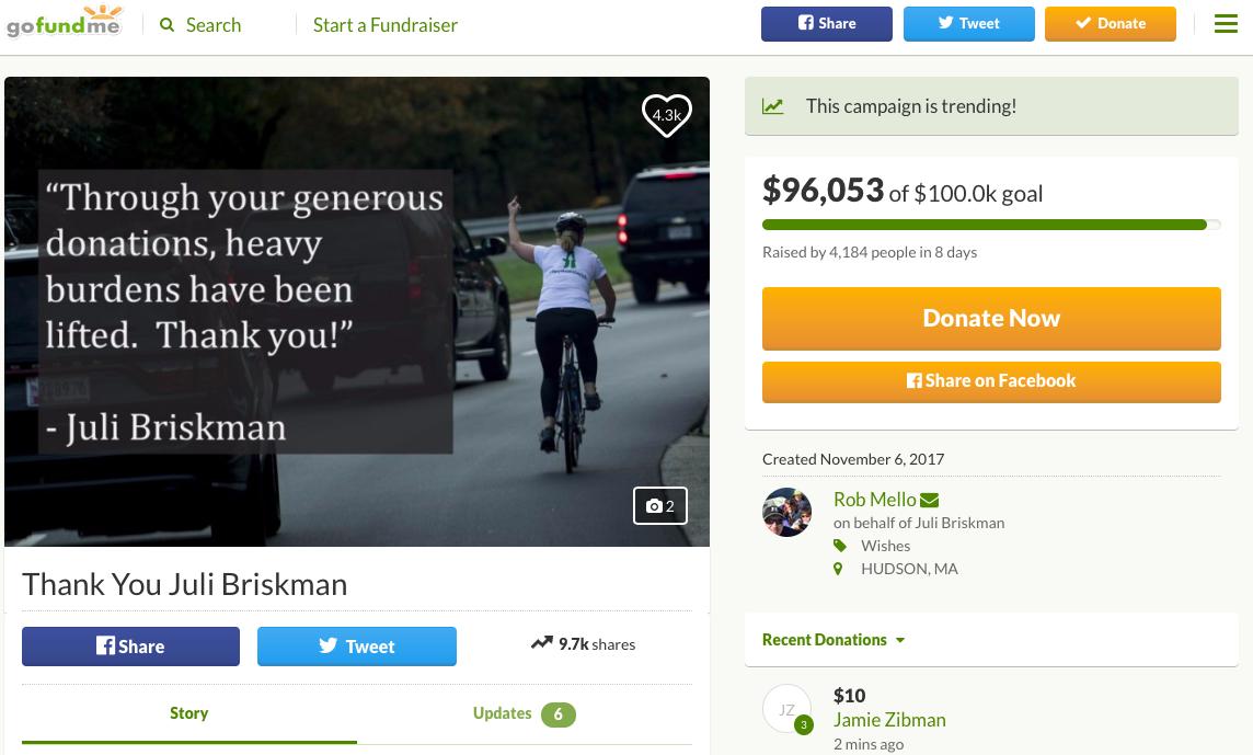 網友在群眾募資網站上發起募款,聲援布瑞斯曼。圖擷自gofundme