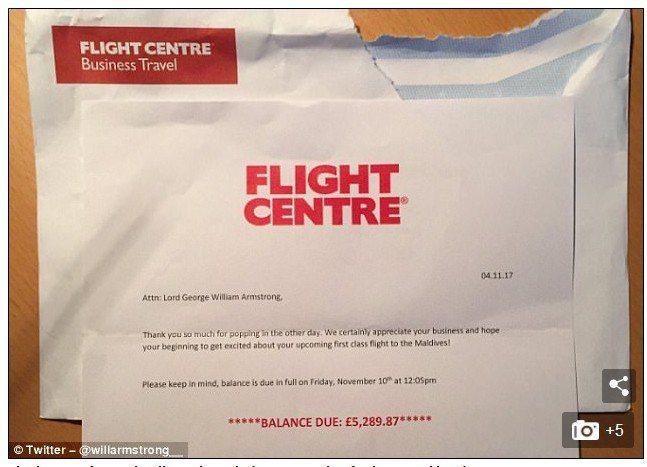 威廉‧阿姆斯壯收到一封航空公司的郵件,文件載明他向航空公司訂了一張飛往馬爾地夫的...