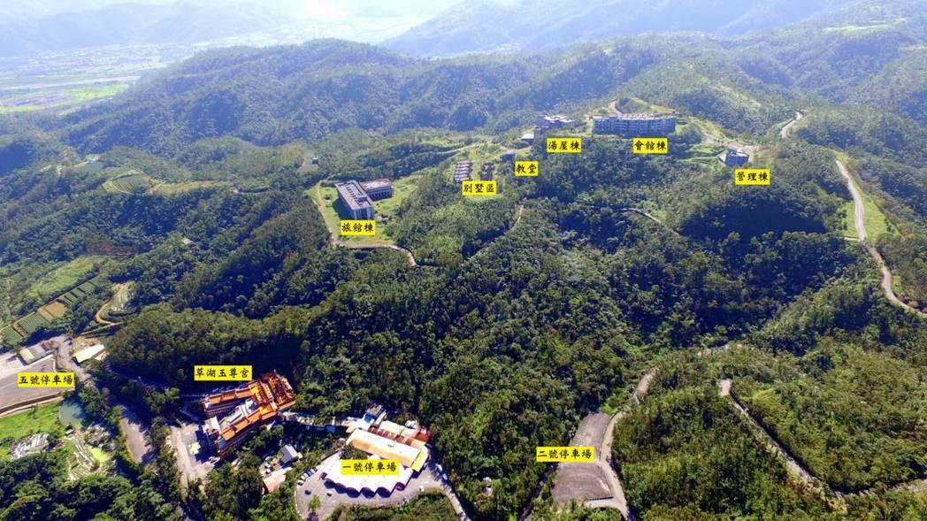 欣芮國際渡假酒店方位圖,草湖玉尊宮正在酒店下方。圖/欣芮公司提供