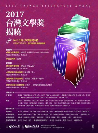 由國立台灣文學館主辦的「台灣文學獎」金典獎得主名單今天公布。圖/文學館提供