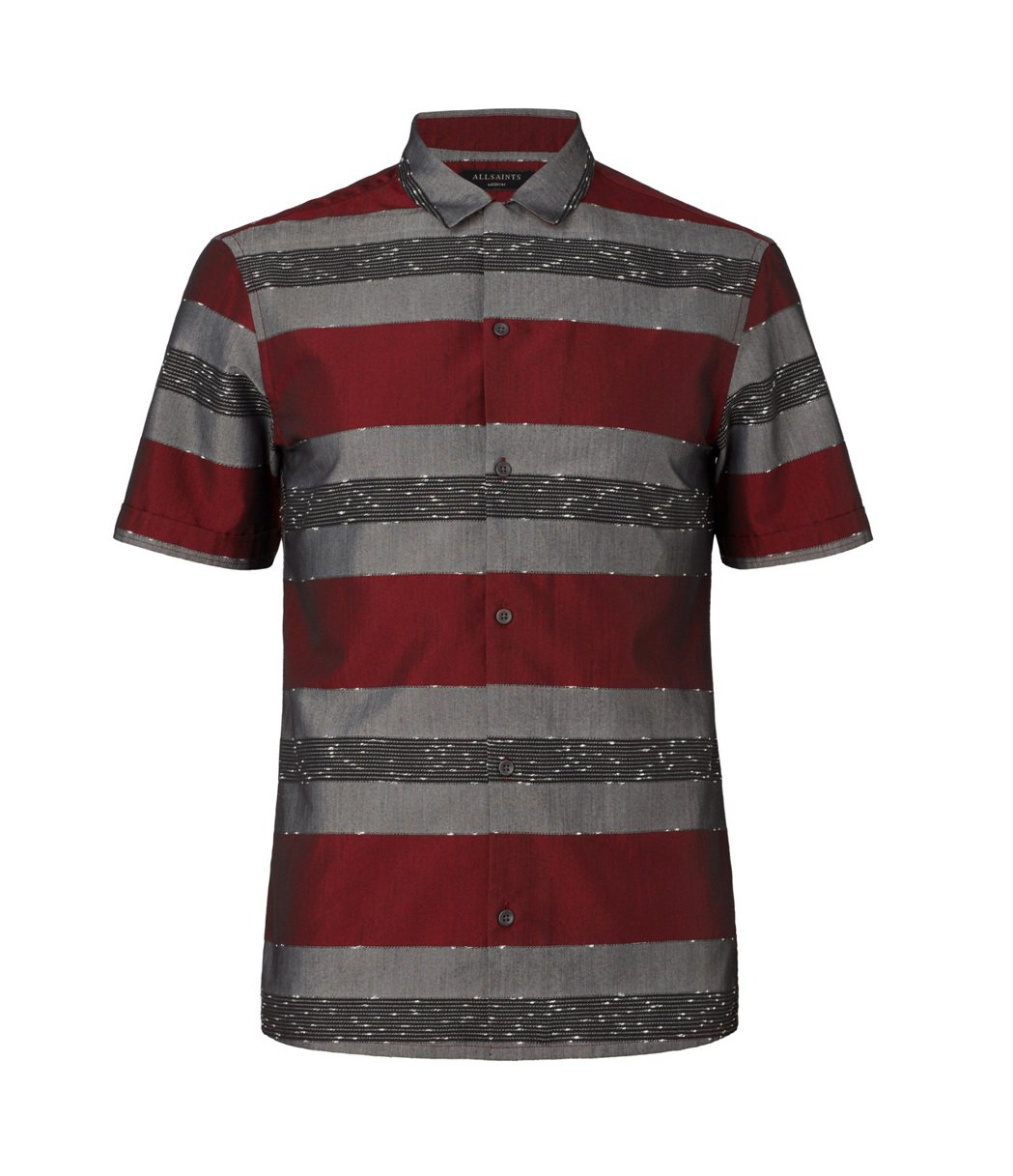 AllSaints Holiday系列Gabon紅色橫條紋短袖襯衫,約5,100...