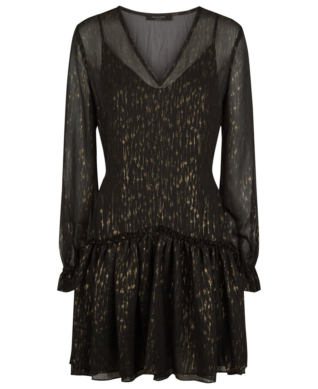 AllSaints Holiday系列Alia金色印花洋裝,約9,900元。圖/...