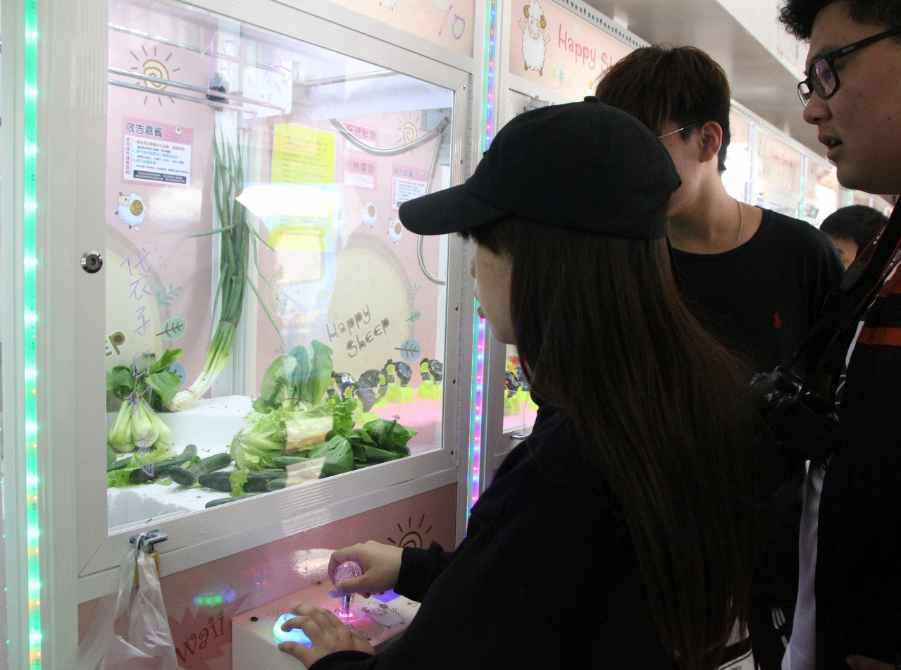 鹿港鎮出現夾菜機,在夾娃娃機中顯得醒目,吸引民眾小試身手。記者林敬家/攝影