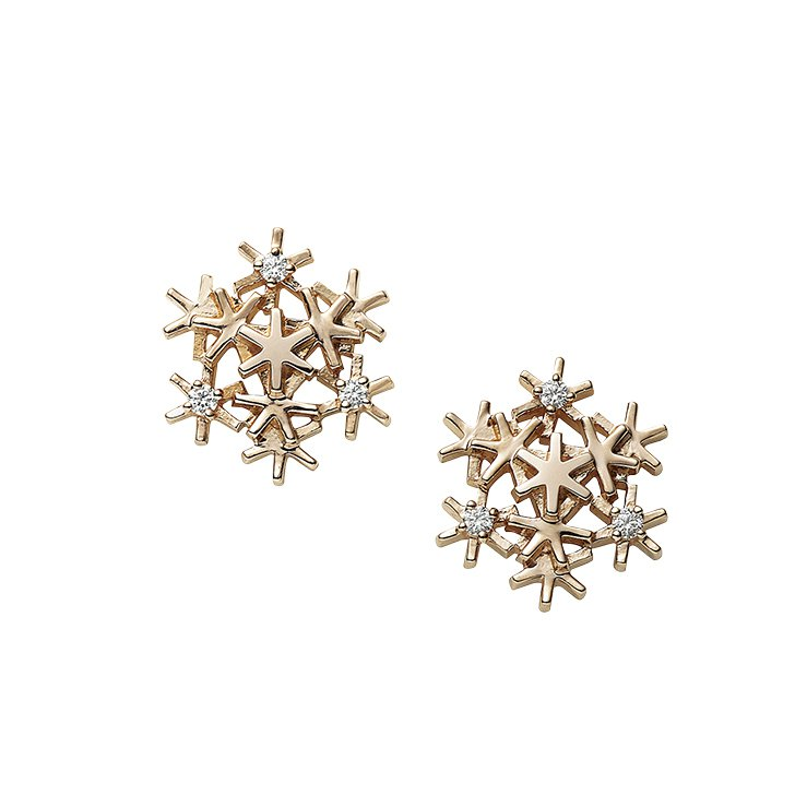 MIKIMOTO 18K粉紅金鑽石雪花耳環,45,000元。圖/MIKIMOTO...