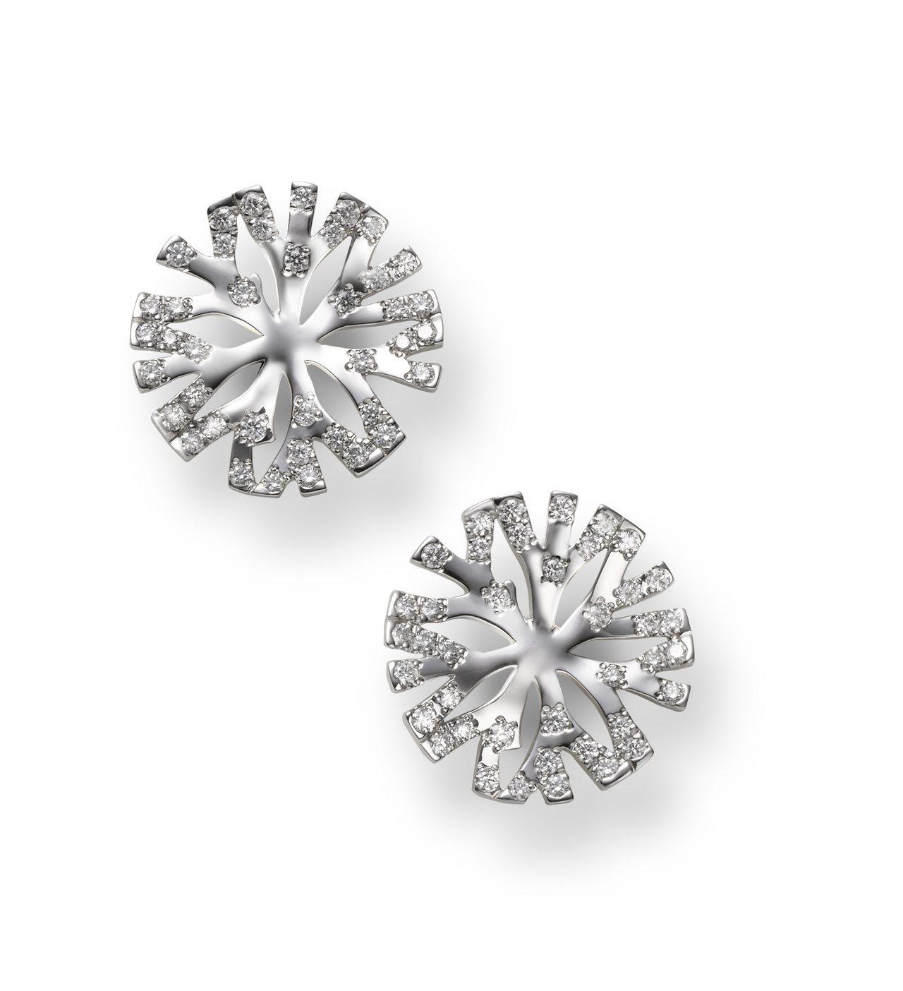 Coral Collection 18K白金鑽石耳環,215,000元。圖/MI...