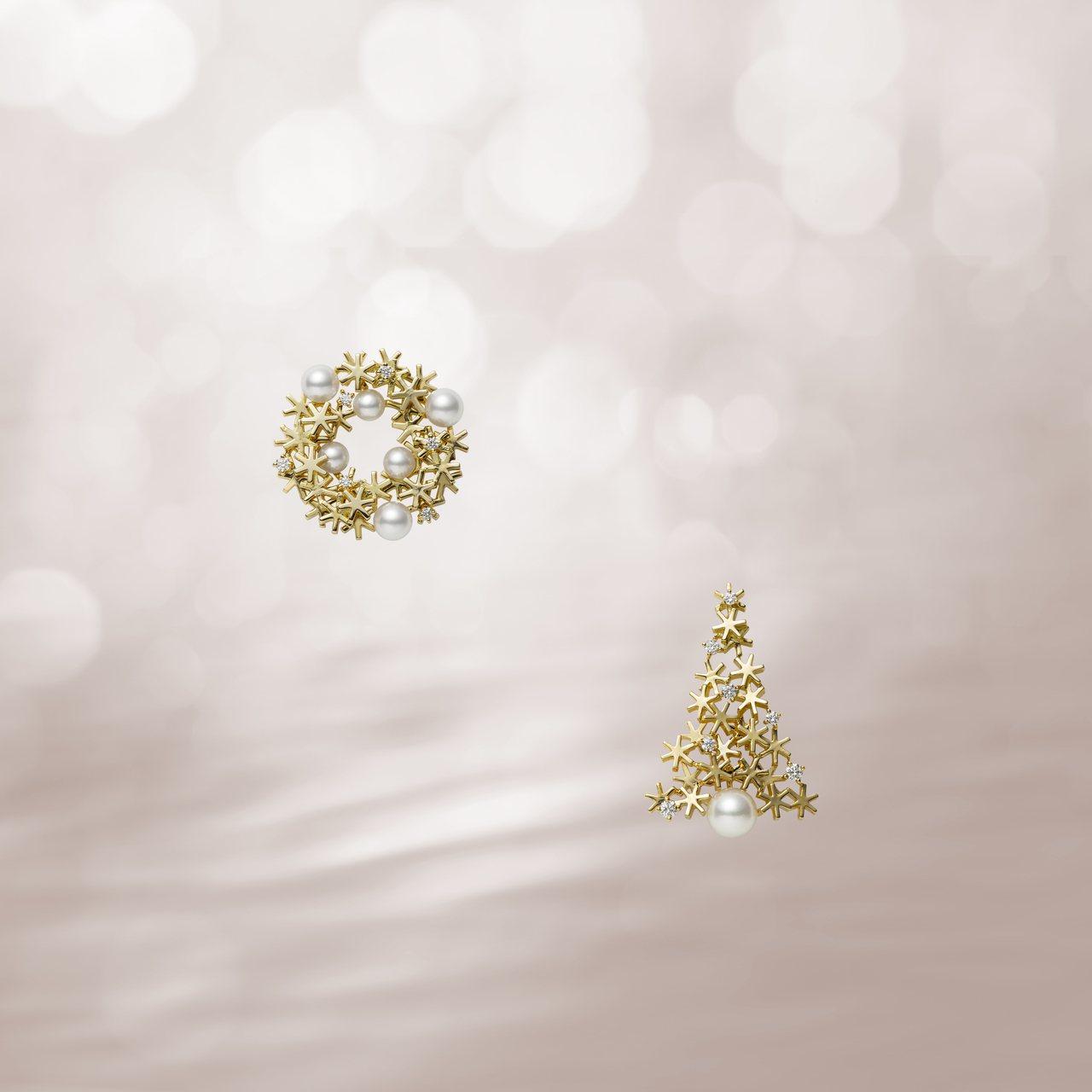 日本Akoya珍珠18K黃金耶誕樹及耶誕花圈胸針,限量發售。圖/MIKIMOTO...