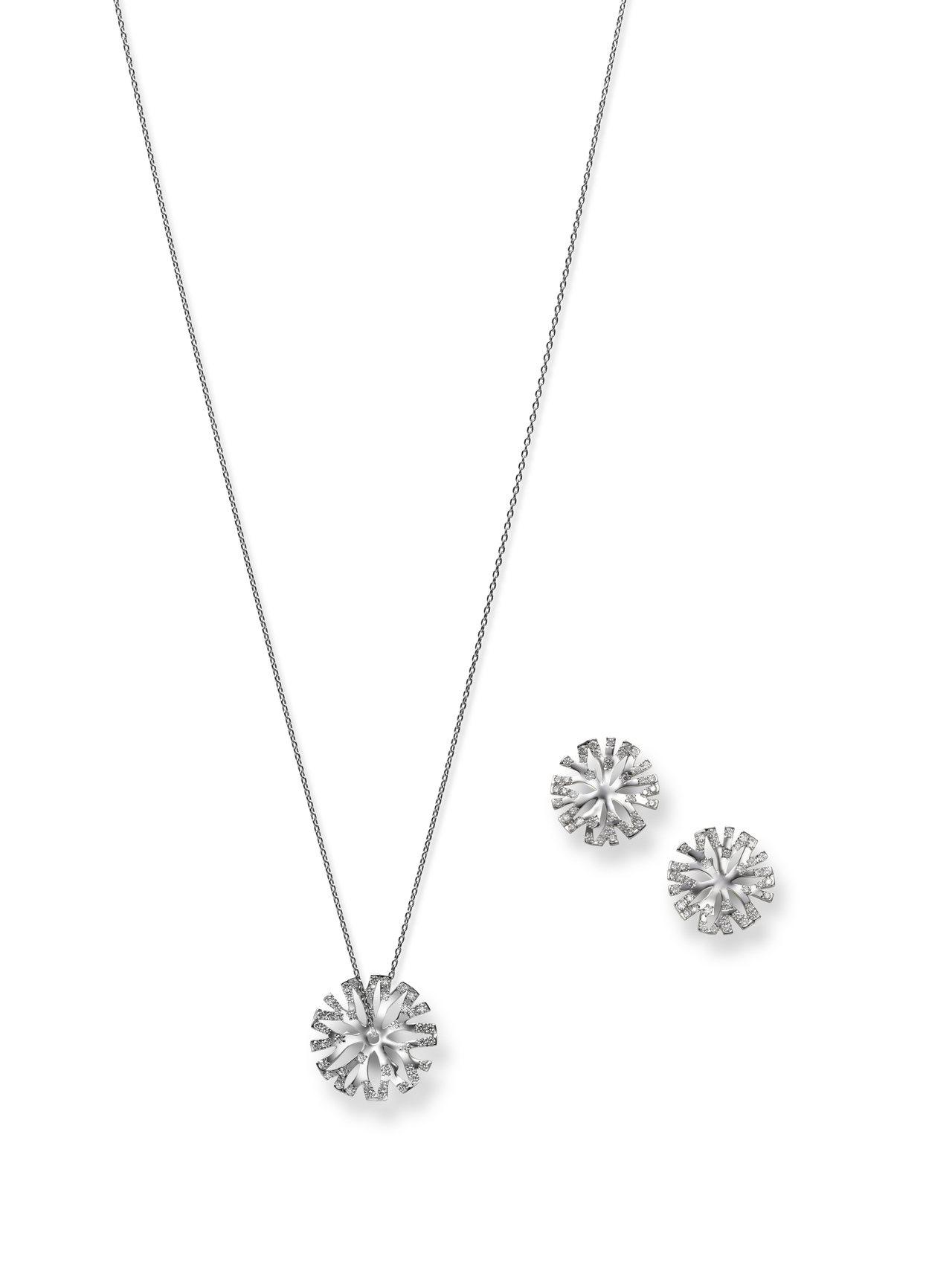 Coral Collection 18K白金鑽石墜鍊及耳環,價格店洽。圖/MIK...