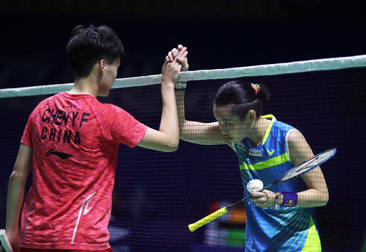 戴資穎(右)今天在大陸頂級超羽賽逆轉擊敗地主陳雨菲。 圖/Badminton ...