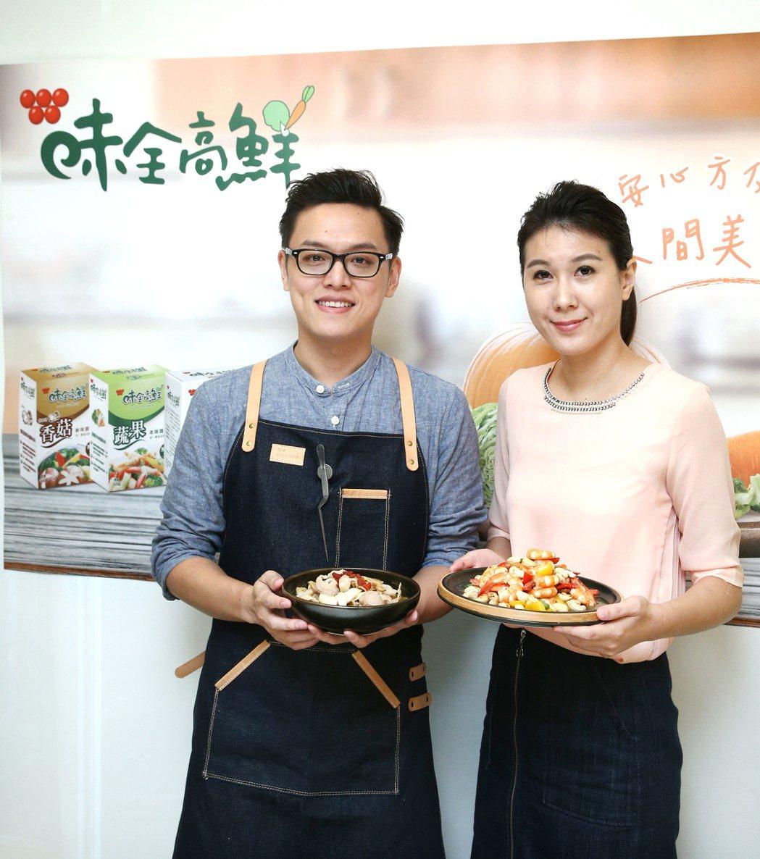 營養師宋明樺(右)與「男人廚房1+1」主廚Colin。記者蘇健忠/攝影