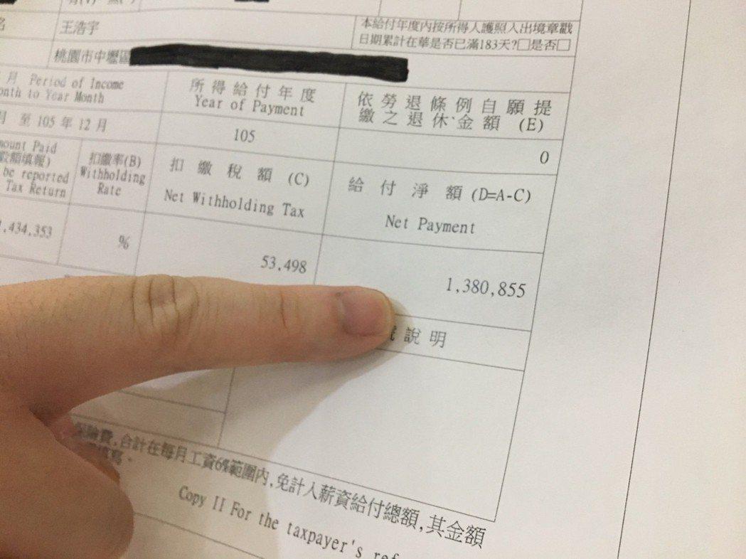綠黨籍桃園市議員王浩宇公布自己所得扣繳憑單,議員年薪約138萬元,他說還得支應助...