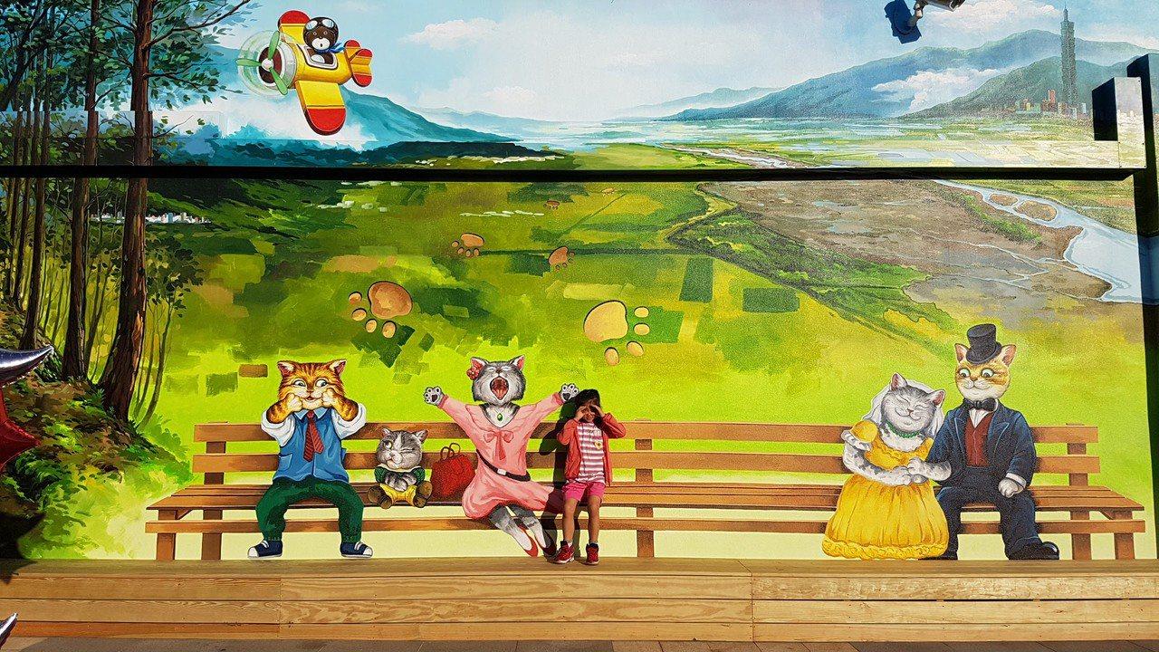 松山機場觀景台新增3D彩繪喵喵航空牆。記者王韶憶/攝影