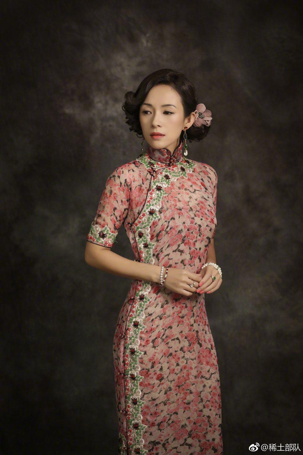 章子怡的「胭脂扣」女主角旗袍造型,獲得影迷盛讚。圖/摘自微博