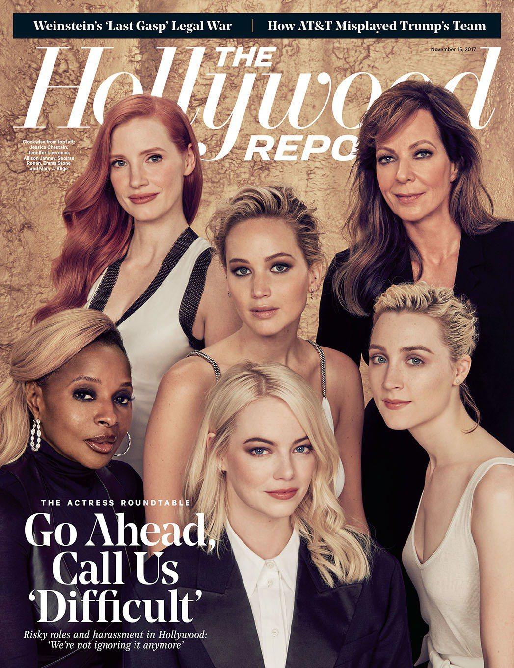 瑪莉布萊姬(前排左起)、艾瑪史東、瑟莎羅南、潔西卡雀絲坦(後排左起)、珍妮佛勞倫...