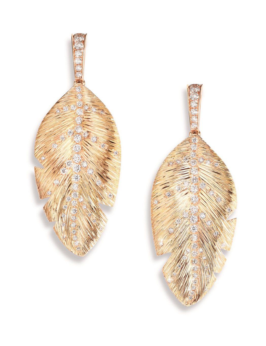 Extremely Piaget 系列棕櫚葉耳環,18K玫瑰金鑲嵌120顆共約1...