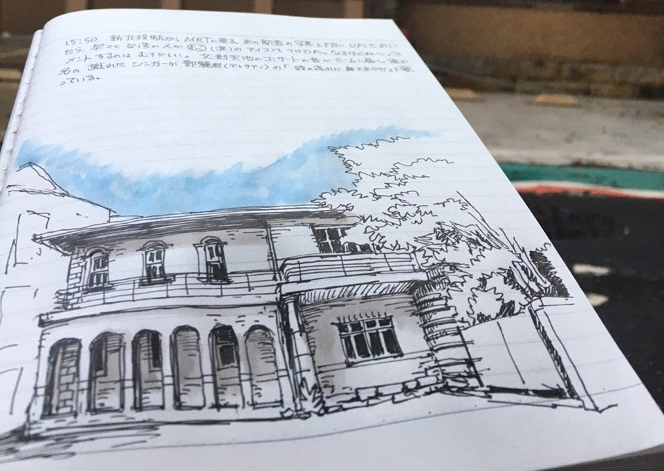 渡邊義孝是日本一級建築士,活躍在文化資產界。圖為渡邊義孝速寫山海樓。 圖/作者提...