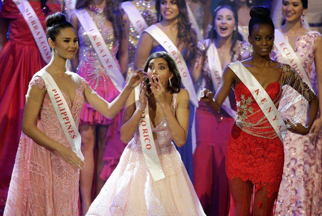 波多黎各的史黛芬妮.德瓦耶(中)當選2016年世界小姐。路透