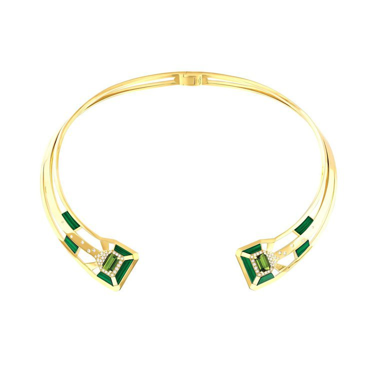 My Green項鍊,18K黃金鑲嵌兩顆總重3.66克拉祖母綠切割綠碧璽、10片...