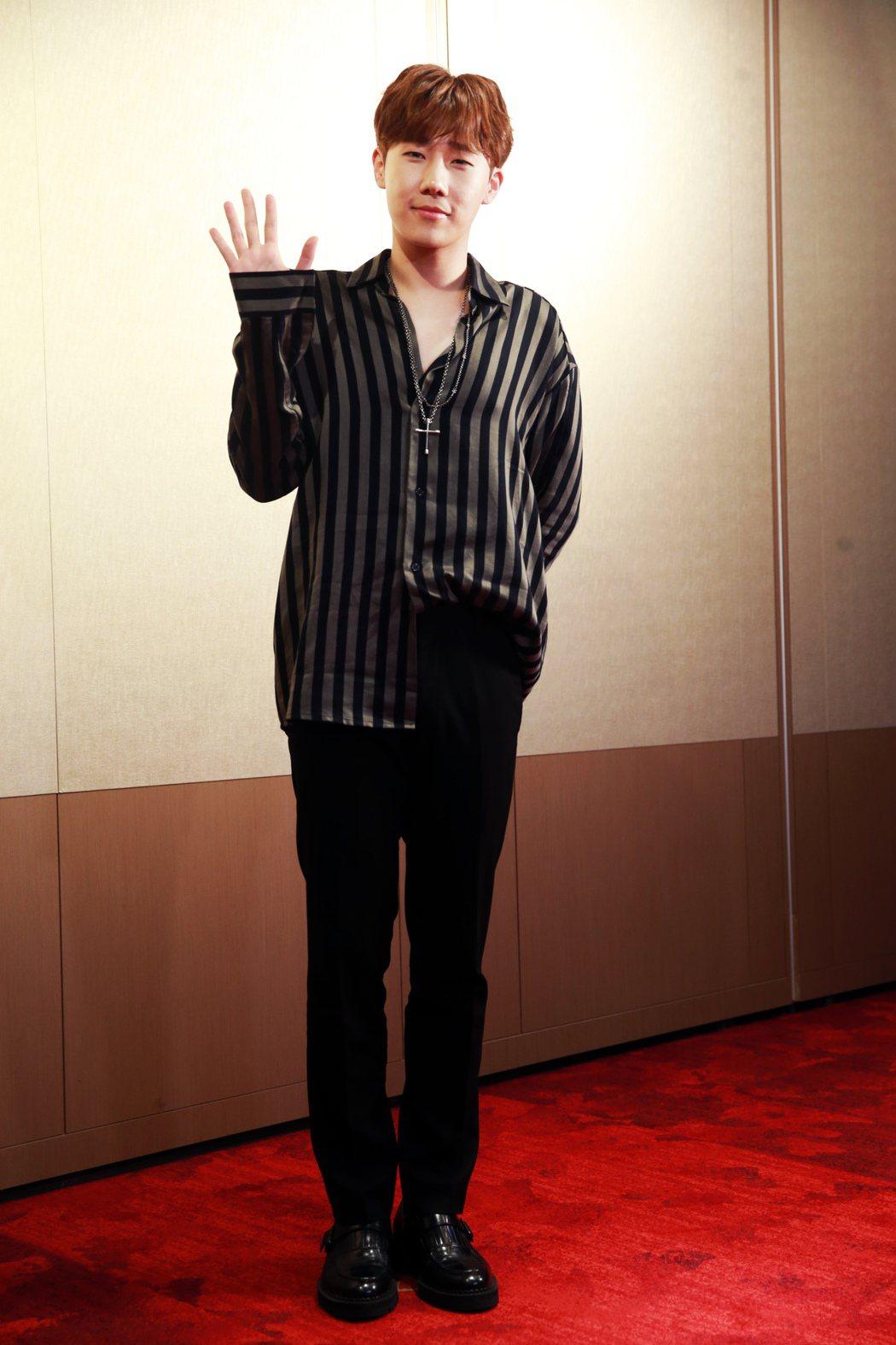 南韓夯團「INFINITE」隊長金聖圭在台首次舉辦個人見面會。記者徐兆玄/攝影