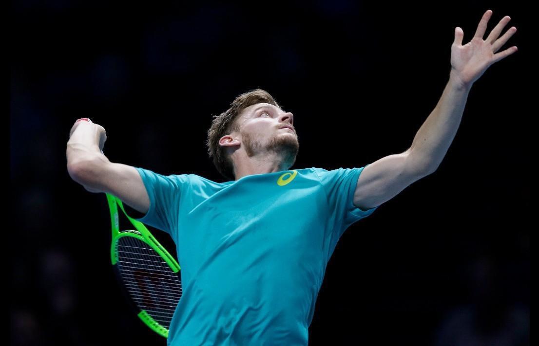 倫敦ATP世界巡迴年終賽4強戰,比利時網球好手葛芬(David Goffin)逆...